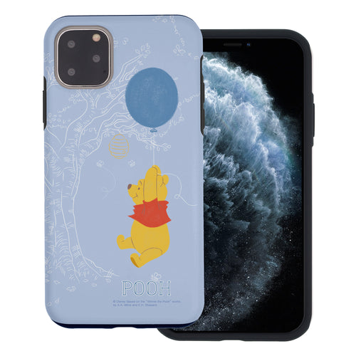 iPhone 11 Pro Max Case (6.5inch) Disney Pooh Layered Hybrid [TPU + PC] Bumper Cover - Balloon Pooh Sky