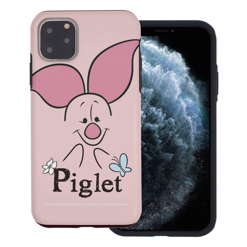 iPhone 11 Pro Max Case (6.5inch) Disney Pooh Layered Hybrid [TPU + PC] Bumper Cover - Face Line Piglet