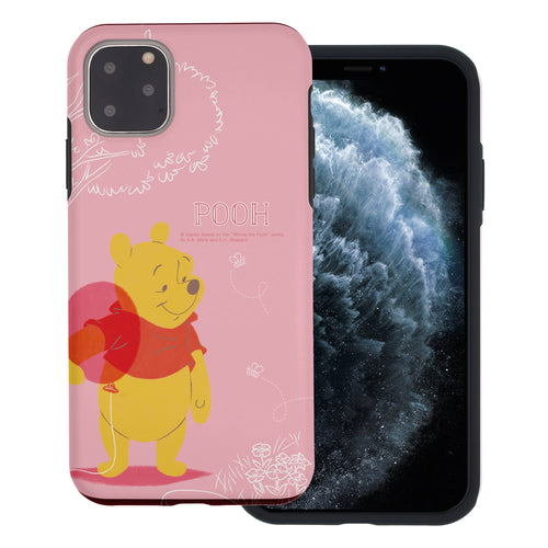iPhone 11 Pro Max Case (6.5inch) Disney Pooh Layered Hybrid [TPU + PC] Bumper Cover - Balloon Pooh Ground
