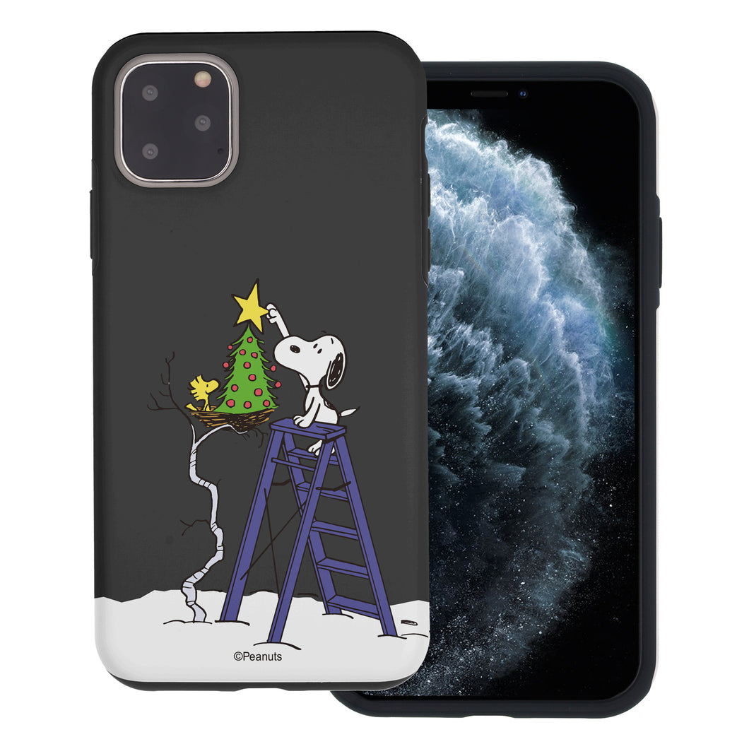 iPhone 11 Case (6.1inch) PEANUTS Layered Hybrid [TPU + PC] Bumper Cover - Christmas Tree Star Snoopy