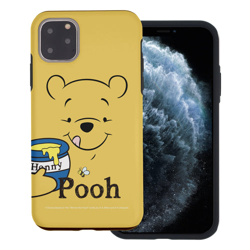 iPhone 11 Pro Max Case (6.5inch) Disney Pooh Layered Hybrid [TPU + PC] Bumper Cover - Face Line Pooh