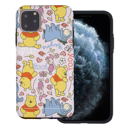 iPhone 11 Pro Max Case (6.5inch) Disney Pooh Layered Hybrid [TPU + PC] Bumper Cover - Pattern Pooh Pink