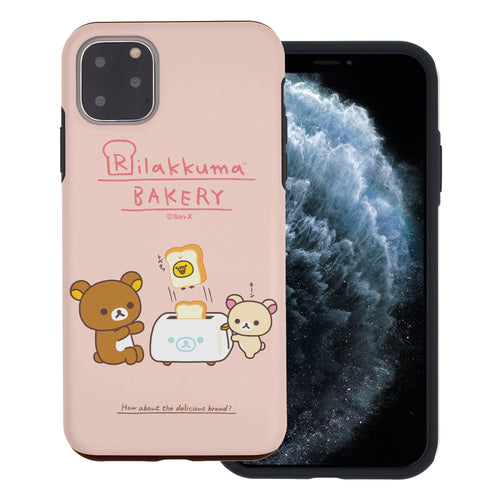 iPhone 12 Pro Max Case (6.7inch) Rilakkuma Layered Hybrid [TPU + PC] Bumper Cover - Rilakkuma Toast