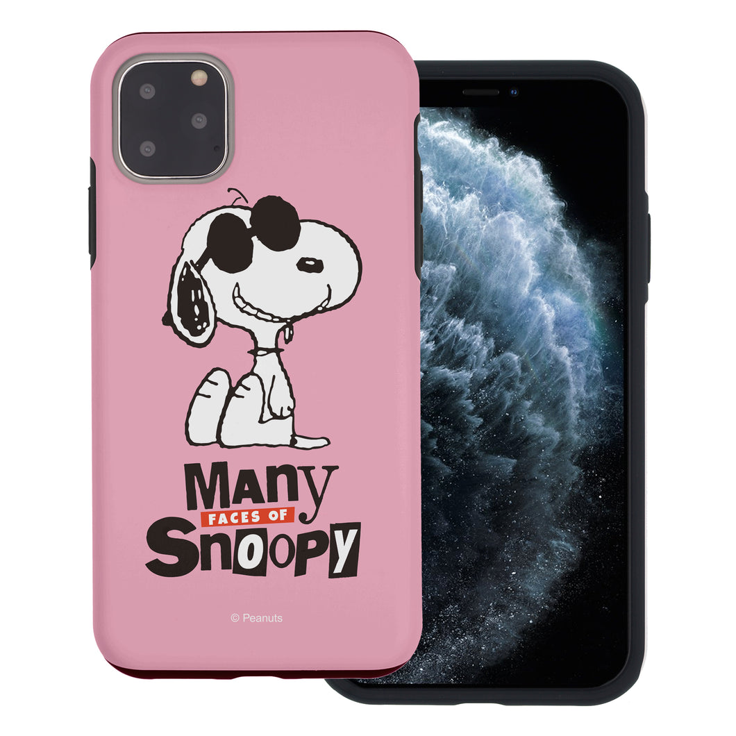 iPhone 11 Pro Max Case (6.5inch) PEANUTS Layered Hybrid [TPU + PC] Bumper Cover - Snoopy Face Baby pink