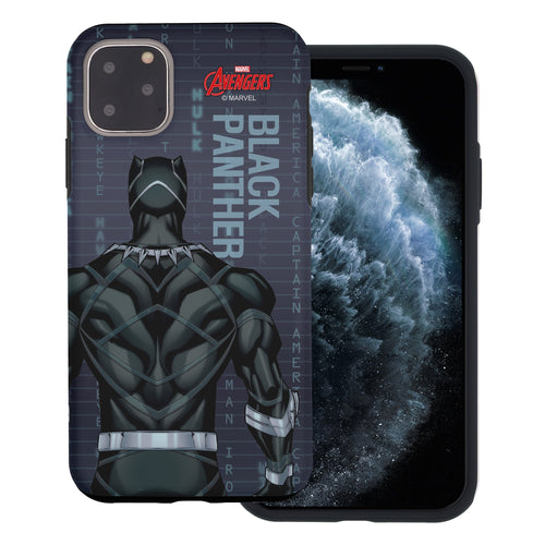 iPhone 11 Case (6.1inch) Marvel Avengers Layered Hybrid [TPU + PC] Bumper Cover - Back Panther
