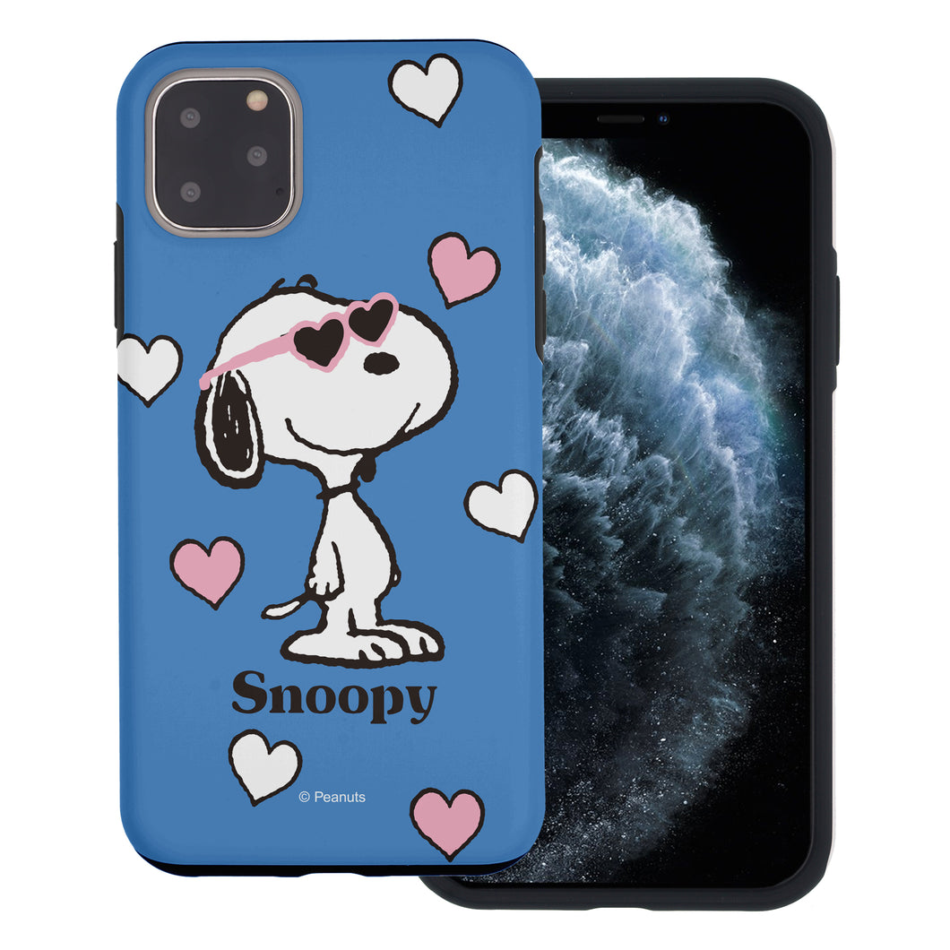 iPhone 12 Pro / iPhone 12 Case (6.1inch) PEANUTS Layered Hybrid [TPU + PC] Bumper Cover - Snoopy Heart Glasses Blue