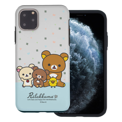 iPhone 11 Pro Max Case (6.5inch) Rilakkuma Layered Hybrid [TPU + PC] Bumper Cover - Rilakkuma Friends