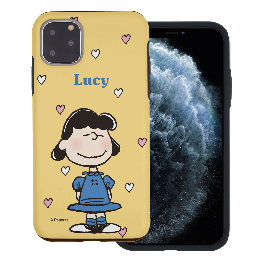 iPhone 11 Case (6.1inch) PEANUTS Layered Hybrid [TPU + PC] Bumper Cover - Lucy Heart Stand