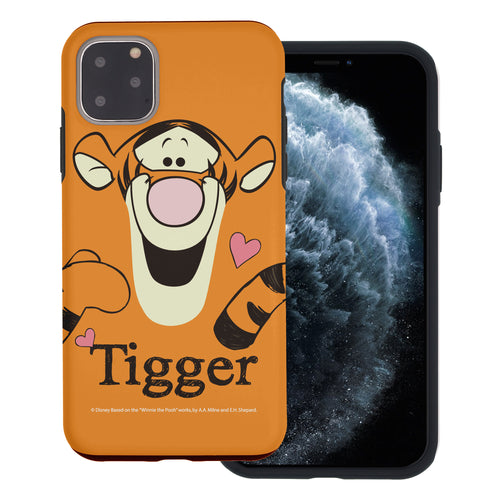 iPhone 11 Pro Max Case (6.5inch) Disney Pooh Layered Hybrid [TPU + PC] Bumper Cover - Face Line Tigger
