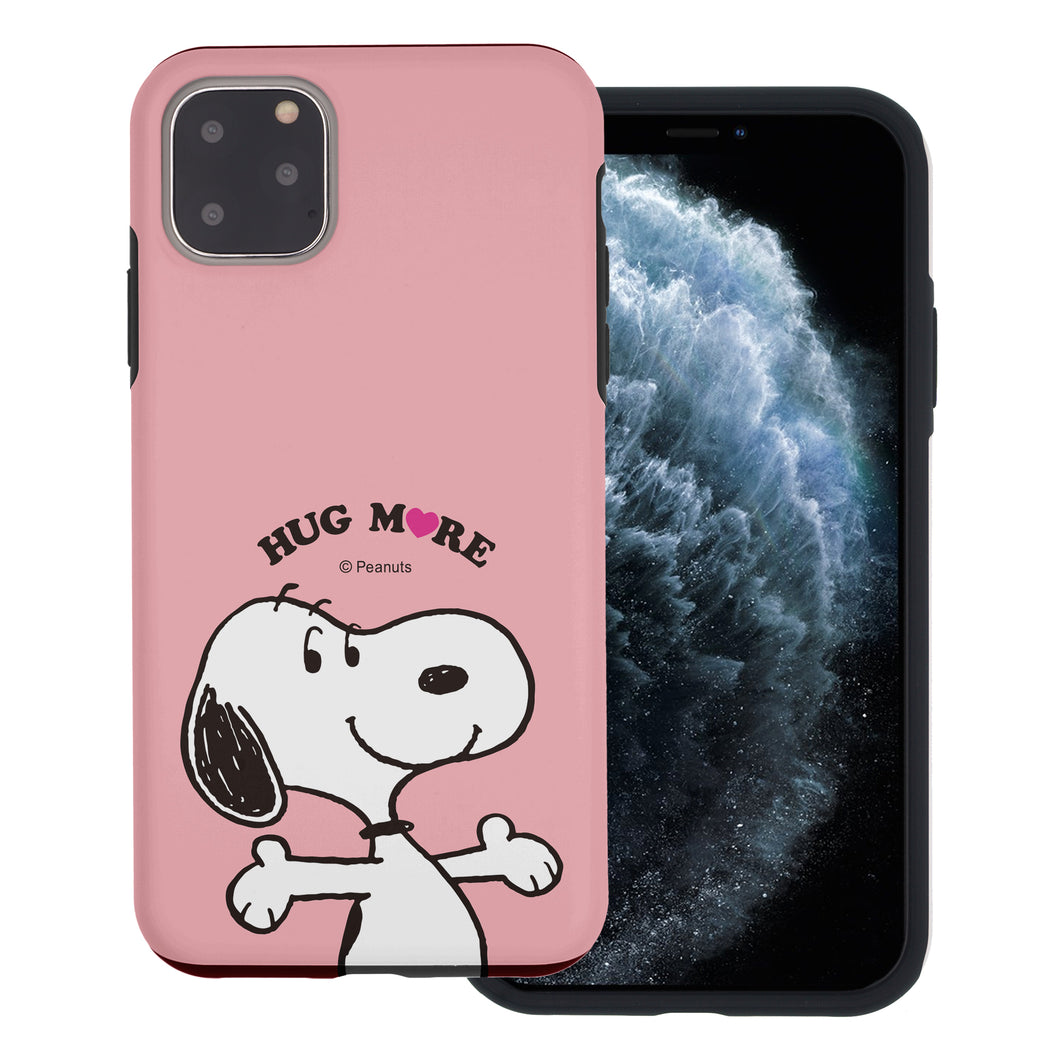 iPhone 12 Pro Max Case (6.7inch) PEANUTS Layered Hybrid [TPU + PC] Bumper Cover - Hug Snoopy