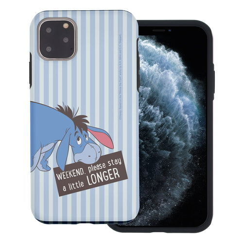 iPhone 11 Pro Max Case (6.5inch) Disney Pooh Layered Hybrid [TPU + PC] Bumper Cover - Words Eeyore Stripe