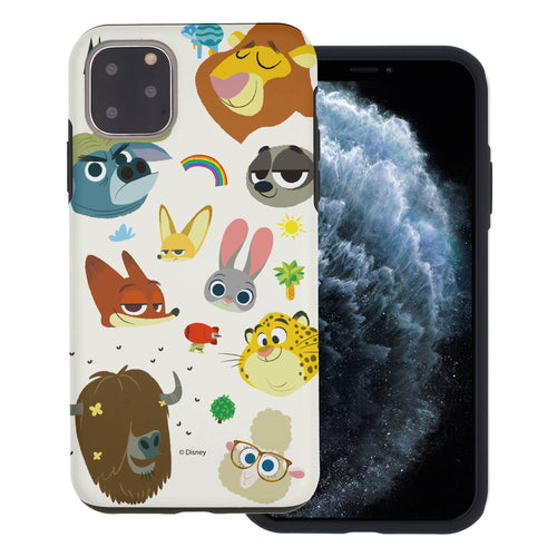 iPhone 11 Pro Max Case (6.5inch) Disney Zootopia Layered Hybrid [TPU + PC] Bumper Cover - Zootopia Small