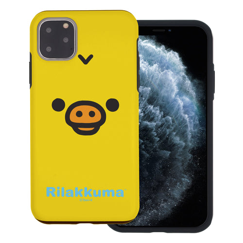 iPhone 11 Pro Max Case (6.5inch) Rilakkuma Layered Hybrid [TPU + PC] Bumper Cover - Face Kiiroitori