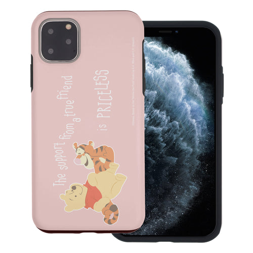 iPhone 11 Pro Max Case (6.5inch) Disney Pooh Layered Hybrid [TPU + PC] Bumper Cover - Words Pooh Tigger