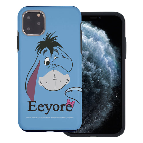 iPhone 11 Pro Max Case (6.5inch) Disney Pooh Layered Hybrid [TPU + PC] Bumper Cover - Face Line Eeyore