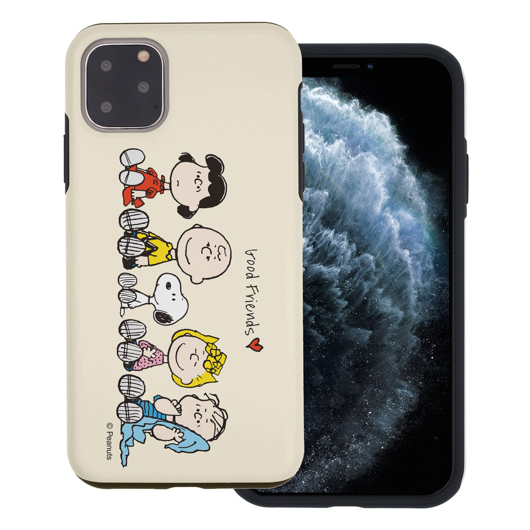 iPhone 11 Pro Max Case (6.5inch) PEANUTS Layered Hybrid [TPU + PC] Bumper Cover - Peanuts Friends Sit