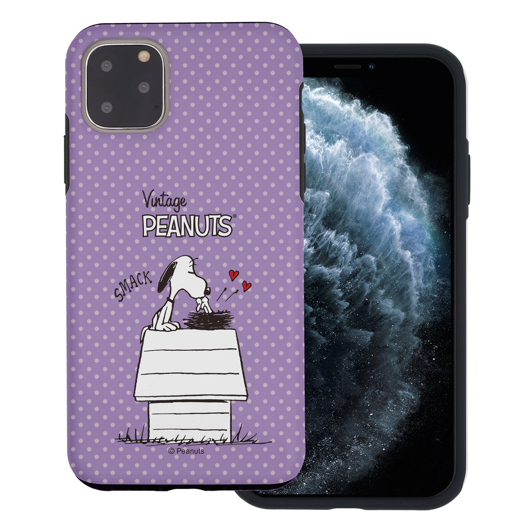 iPhone 11 Pro Max Case (6.5inch) PEANUTS Layered Hybrid [TPU + PC] Bumper Cover - Smack Snoopy Birds