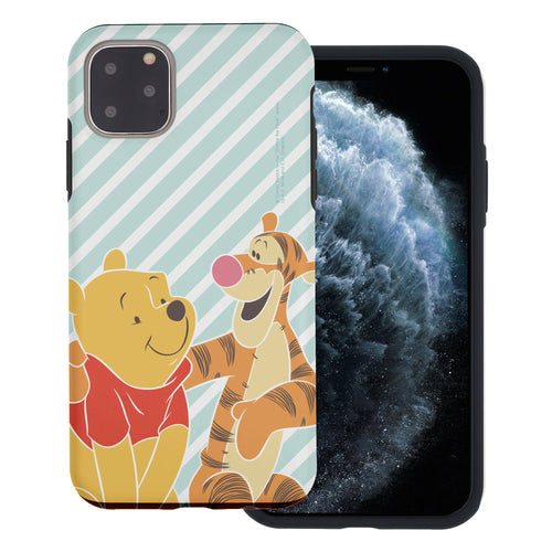 iPhone 11 Pro Max Case (6.5inch) Disney Pooh Layered Hybrid [TPU + PC] Bumper Cover - Stripe Pooh Tigger