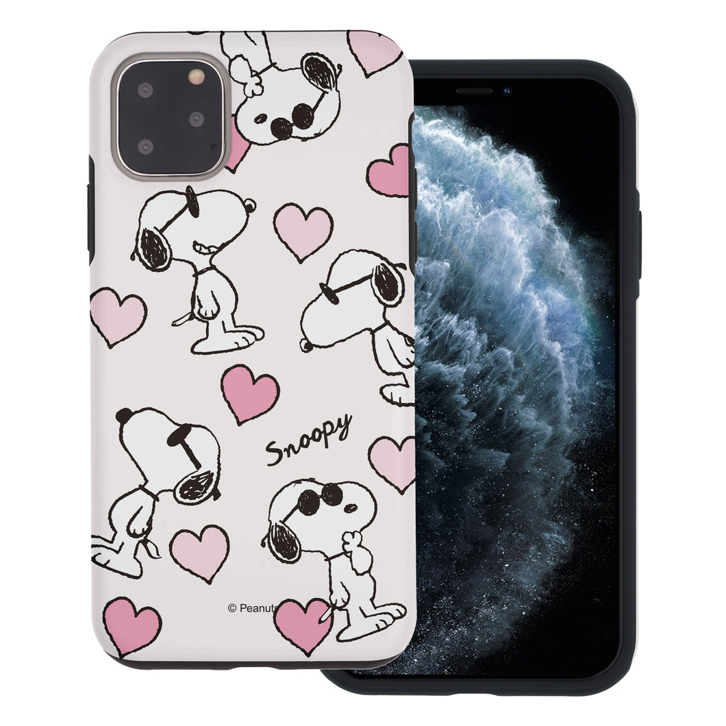 iPhone 11 Pro Case (5.8inch) PEANUTS Layered Hybrid [TPU + PC] Bumper Cover - Snoopy Heart Pattern