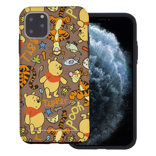 iPhone 11 Pro Max Case (6.5inch) Disney Pooh Layered Hybrid [TPU + PC] Bumper Cover - Pattern Pooh Brown