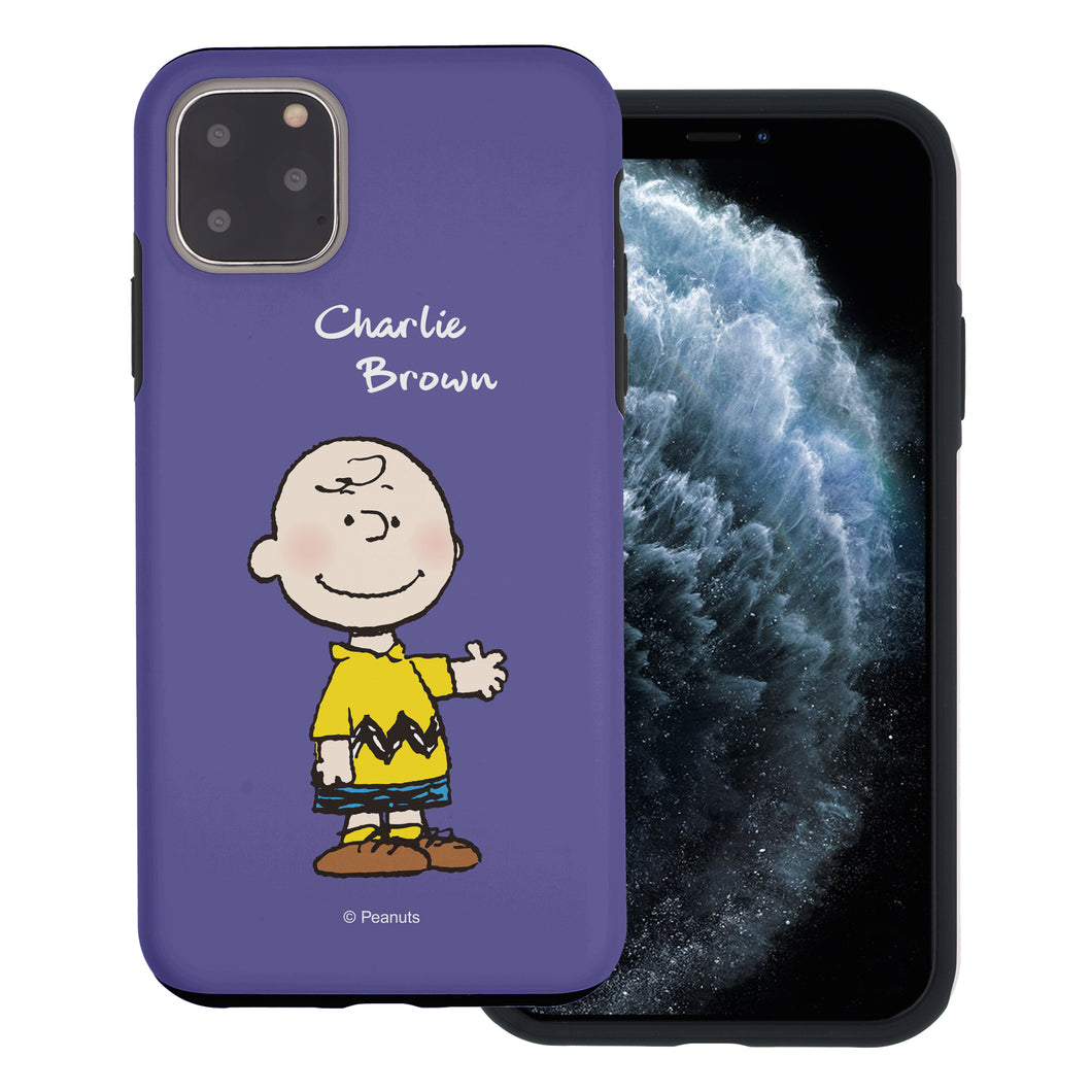 iPhone 11 Pro Max Case (6.5inch) PEANUTS Layered Hybrid [TPU + PC] Bumper Cover - Charlie Brown Stand Purple