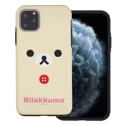 iPhone 12 Pro Max Case (6.7inch) Rilakkuma Layered Hybrid [TPU + PC] Bumper Cover - Face Korilakkuma