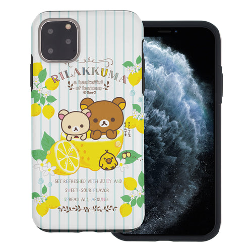 iPhone 11 Pro Max Case (6.5inch) Rilakkuma Layered Hybrid [TPU + PC] Bumper Cover - Rilakkuma Lemon