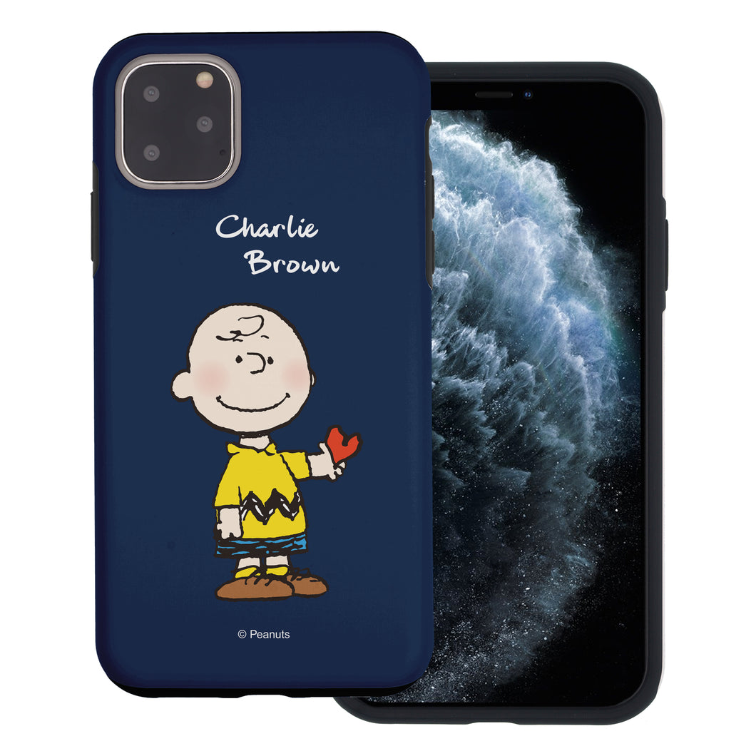 iPhone 12 Pro Max Case (6.7inch) PEANUTS Layered Hybrid [TPU + PC] Bumper Cover - Charlie Brown Stand Navy