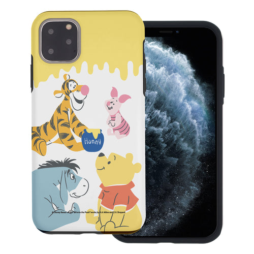 iPhone 11 Pro Max Case (6.5inch) Disney Pooh Layered Hybrid [TPU + PC] Bumper Cover - Pooh Friends