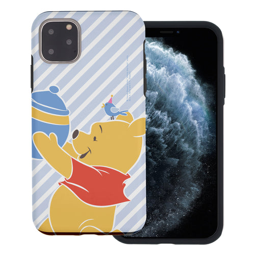 iPhone 11 Pro Max Case (6.5inch) Disney Pooh Layered Hybrid [TPU + PC] Bumper Cover - Stripe Pooh Bird