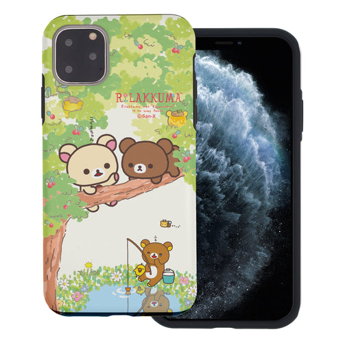 iPhone 11 Pro Max Case (6.5inch) Rilakkuma Layered Hybrid [TPU + PC] Bumper Cover - Rilakkuma Forest