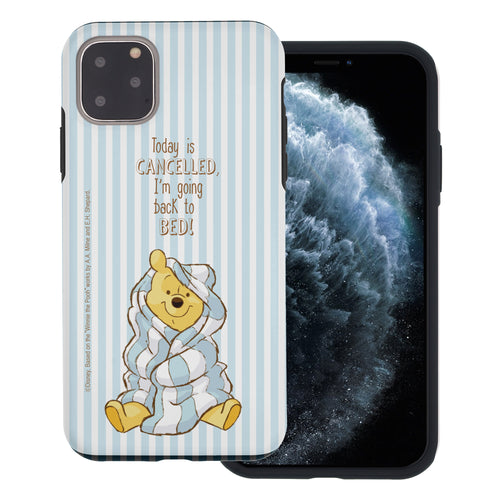 iPhone 11 Pro Max Case (6.5inch) Disney Pooh Layered Hybrid [TPU + PC] Bumper Cover - Words Pooh Stripe