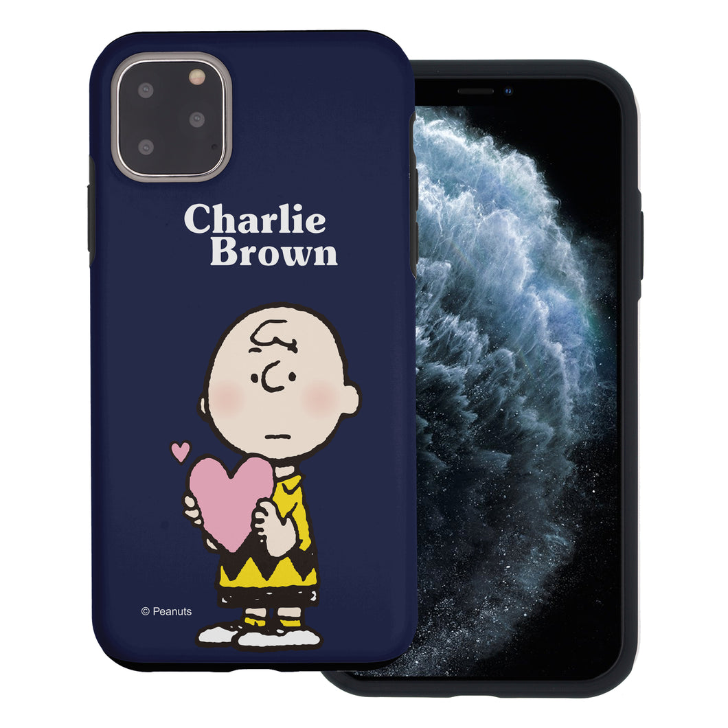 iPhone 11 Pro Max Case (6.5inch) PEANUTS Layered Hybrid [TPU + PC] Bumper Cover - Charlie Brown Big Heart