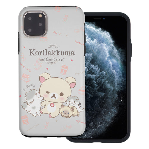 iPhone 11 Pro Max Case (6.5inch) Rilakkuma Layered Hybrid [TPU + PC] Bumper Cover - Korilakkuma Cat