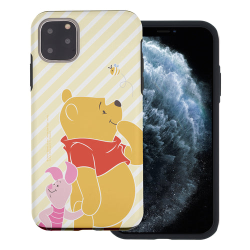 iPhone 12 mini Case (5.4inch) Disney Pooh Layered Hybrid [TPU + PC] Bumper Cover - Stripe Pooh Bee