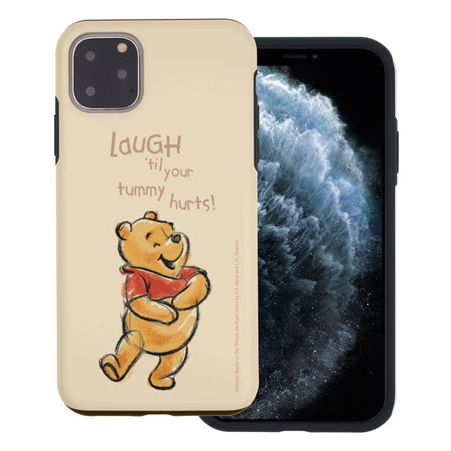 iPhone 11 Pro Max Case (6.5inch) Disney Pooh Layered Hybrid [TPU + PC] Bumper Cover - Words Pooh Laugh