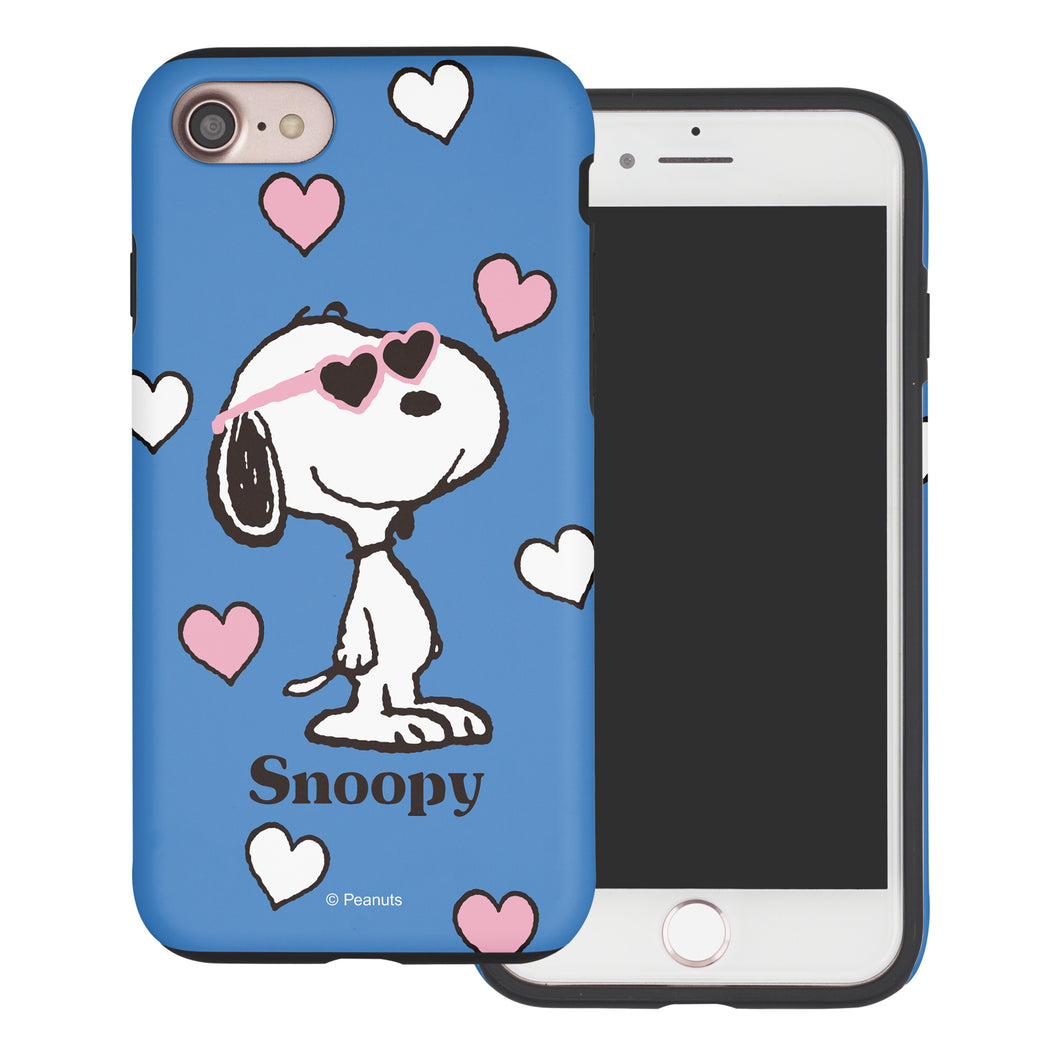 iPhone 8 Plus / iPhone 7 Plus Case PEANUTS Layered Hybrid [TPU + PC] Bumper Cover - Snoopy Heart Glasses Blue