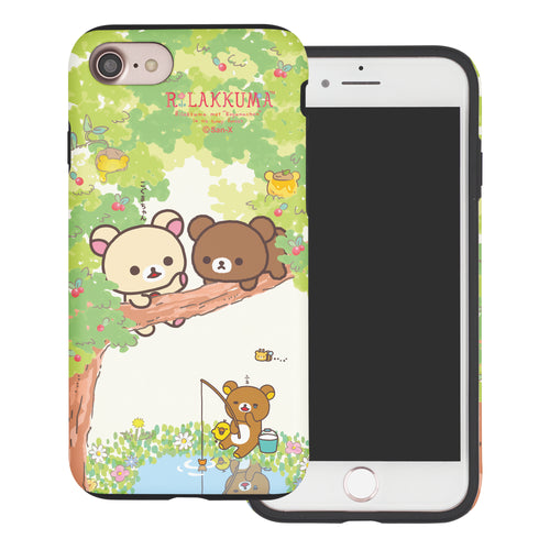 iPhone SE 2020 / iPhone 8 / iPhone 7 Case (4.7inch) Rilakkuma Layered Hybrid [TPU + PC] Bumper Cover - Rilakkuma Forest