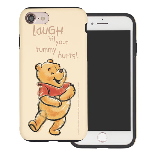 iPhone SE 2020 / iPhone 8 / iPhone 7 Case (4.7inch) Disney Pooh Layered Hybrid [TPU + PC] Bumper Cover - Words Pooh Laugh