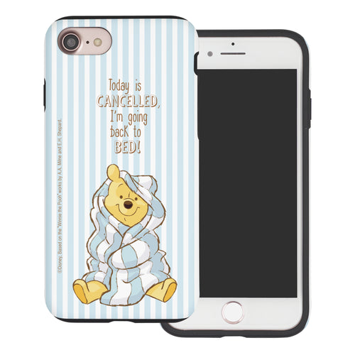 iPhone SE 2020 / iPhone 8 / iPhone 7 Case (4.7inch) Disney Pooh Layered Hybrid [TPU + PC] Bumper Cover - Words Pooh Stripe