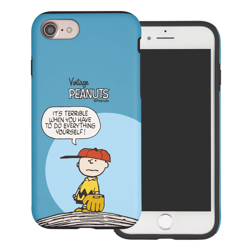 iPhone 5S / iPhone 5 / iPhone SE (2016) Case PEANUTS Layered Hybrid [TPU + PC] Bumper Cover - Cartoon Charlie Brown