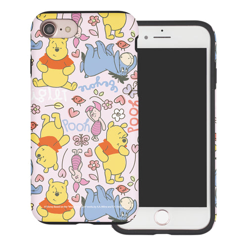 iPhone SE 2020 / iPhone 8 / iPhone 7 Case (4.7inch) Disney Pooh Layered Hybrid [TPU + PC] Bumper Cover - Pattern Pooh Pink