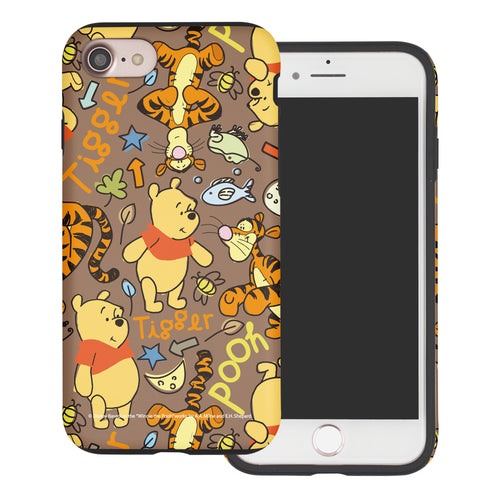 iPhone SE 2020 / iPhone 8 / iPhone 7 Case (4.7inch) Disney Pooh Layered Hybrid [TPU + PC] Bumper Cover - Pattern Pooh Brown