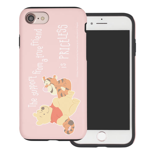 iPhone SE 2020 / iPhone 8 / iPhone 7 Case (4.7inch) Disney Pooh Layered Hybrid [TPU + PC] Bumper Cover - Words Pooh Tigger