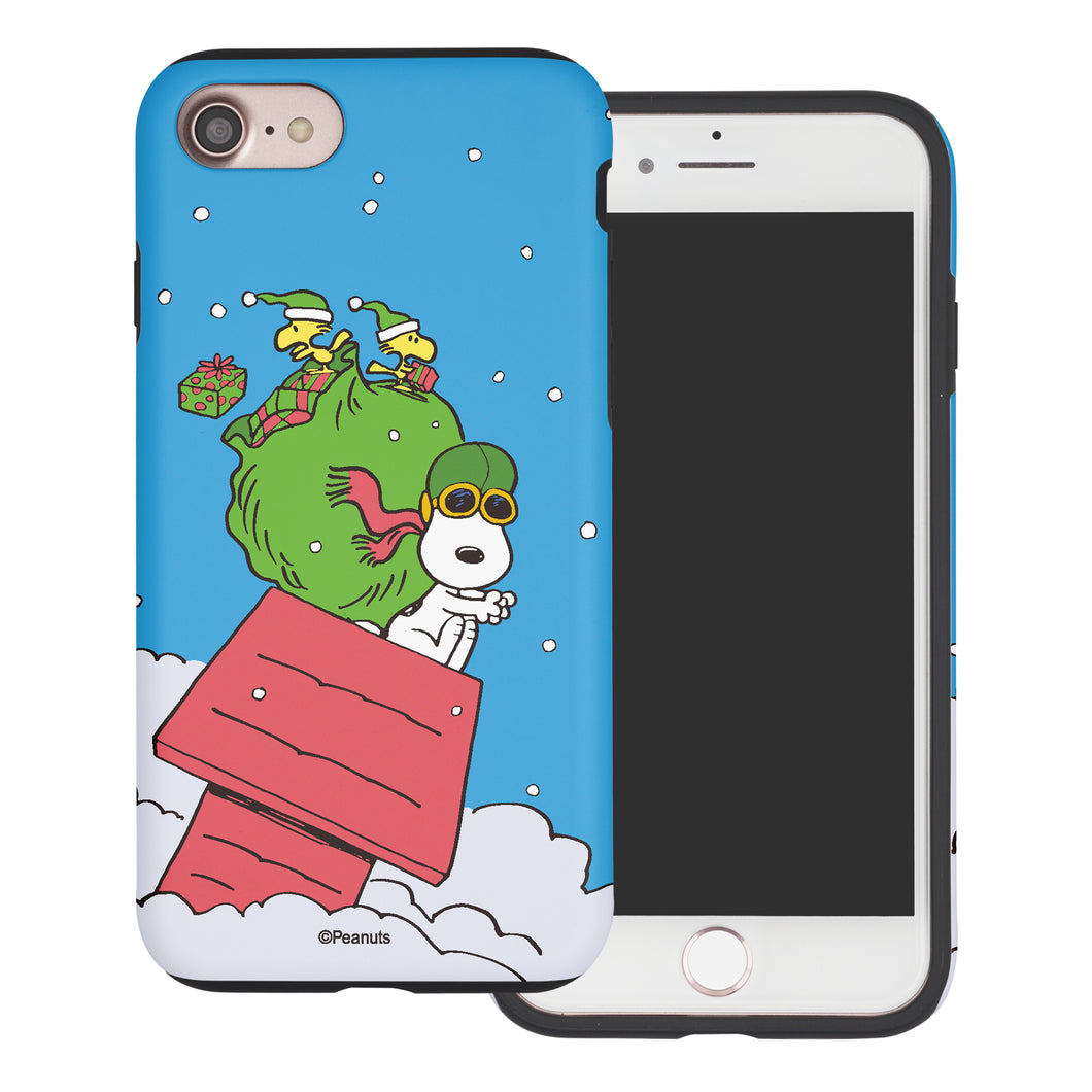 iPhone 8 Plus / iPhone 7 Plus Case PEANUTS Layered Hybrid [TPU + PC] Bumper Cover - Christmas Gift Bag Snoopy