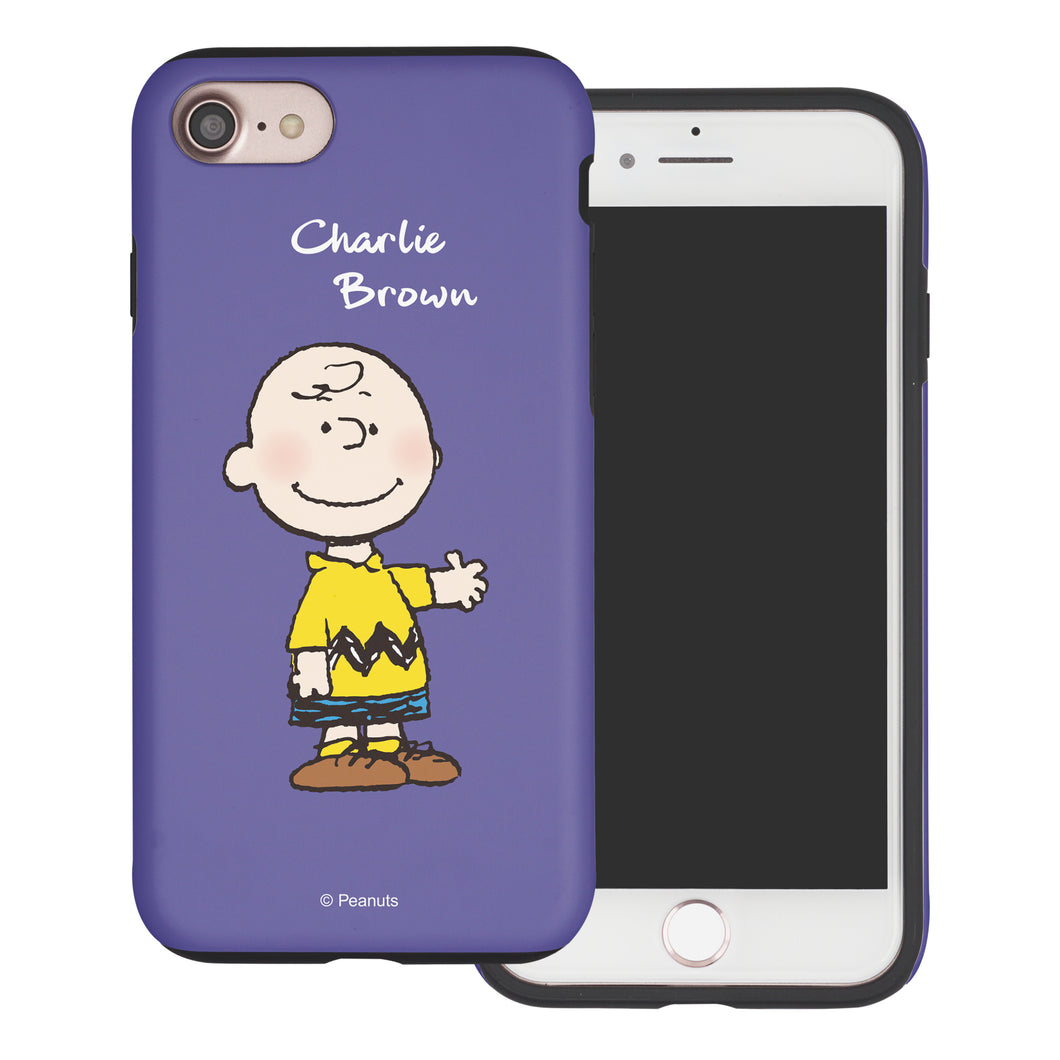 iPhone 6S Plus / iPhone 6 Plus Case PEANUTS Layered Hybrid [TPU + PC] Bumper Cover - Charlie Brown Stand Purple