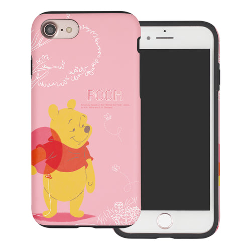 iPhone SE 2020 / iPhone 8 / iPhone 7 Case (4.7inch) Disney Pooh Layered Hybrid [TPU + PC] Bumper Cover - Balloon Pooh Ground