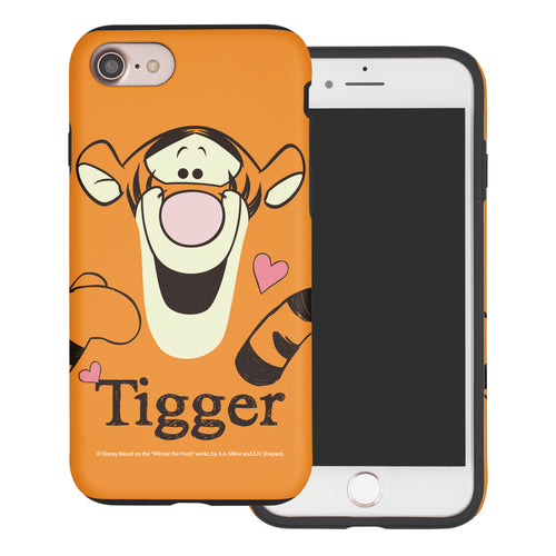 iPhone SE 2020 / iPhone 8 / iPhone 7 Case (4.7inch) Disney Pooh Layered Hybrid [TPU + PC] Bumper Cover - Face Line Tigger