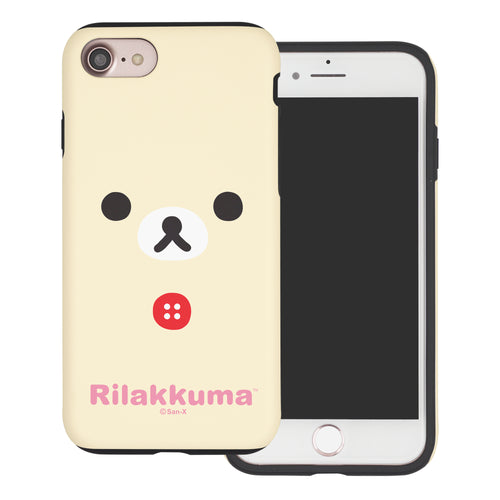 iPhone SE 2020 / iPhone 8 / iPhone 7 Case (4.7inch) Rilakkuma Layered Hybrid [TPU + PC] Bumper Cover - Face Korilakkuma