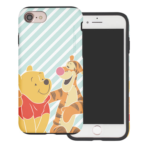 iPhone SE 2020 / iPhone 8 / iPhone 7 Case (4.7inch) Disney Pooh Layered Hybrid [TPU + PC] Bumper Cover - Stripe Pooh Tigger
